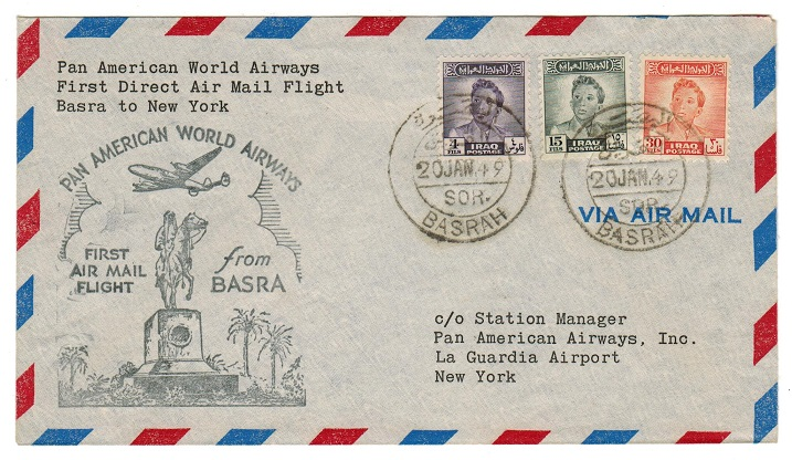 IRAQ - 1949 first flight cover addressed to USA.