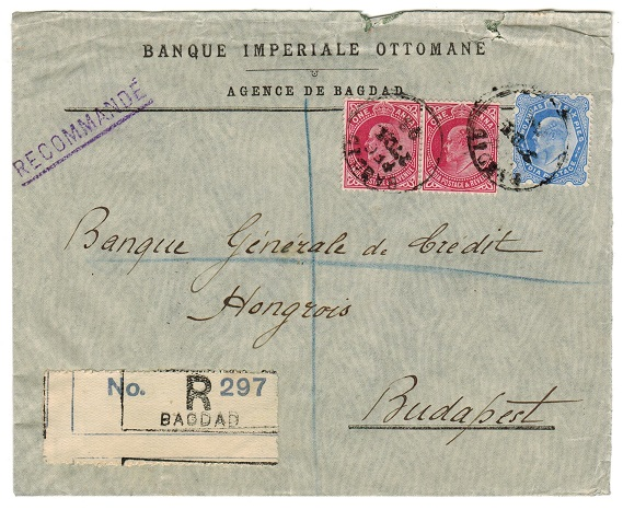IRAQ - 1903 commercial registered cover to Hungary used at BAGHDAD.
