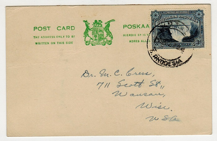 SOUTHERN RHODESIA - 1950 3d rate postcard use to USA from UMTALI.
