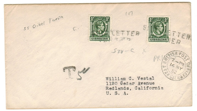 MOROCCO AGENCIES - 1952 cover to USA with struck SHIP LETTER/TANGIER.