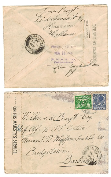 BARBADOS - 1939 inward cover from Netherlands with scarce POST OFFICE censor label.