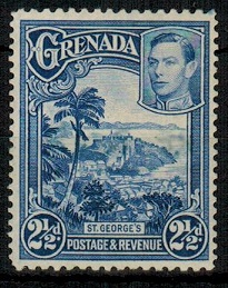 GRENADA - 1950 2 1/2d bright blue rare (perf 12 1/2x13 1/2) mint but RE-PERF