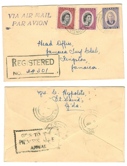 GRENADA - 1951 5c PSE uprated for registration to Jamaica with PRINCESS ALLICE APPEAL h/s. H&G 3.