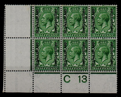 BECHUANALAND - 1913 1/2d green C 13 (P) unmounted mint control block of six.  SG 73.