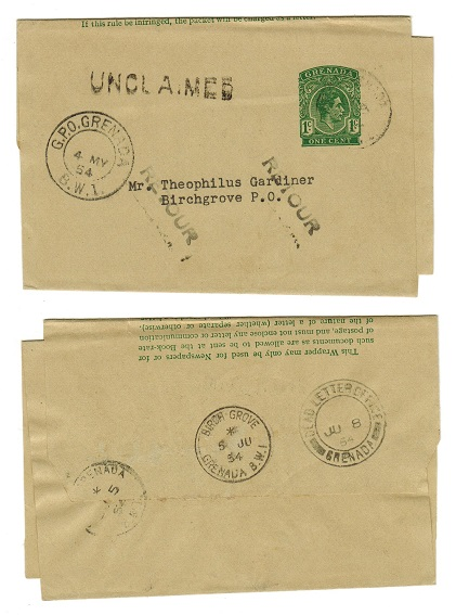 GRENADA - 1949 1c green stationery wrapper used locally with UNCLAIMED and RETOUR h/s