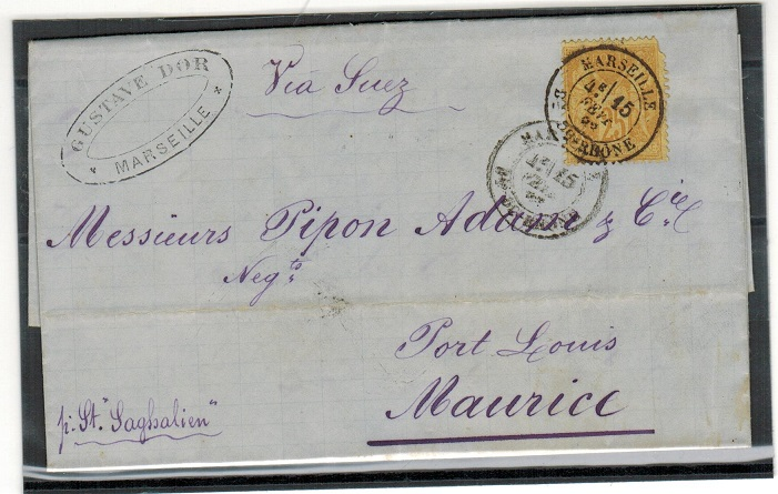 MAURITIUS - 1883 incoming entire from France with MAURITIUS arrival b/s.