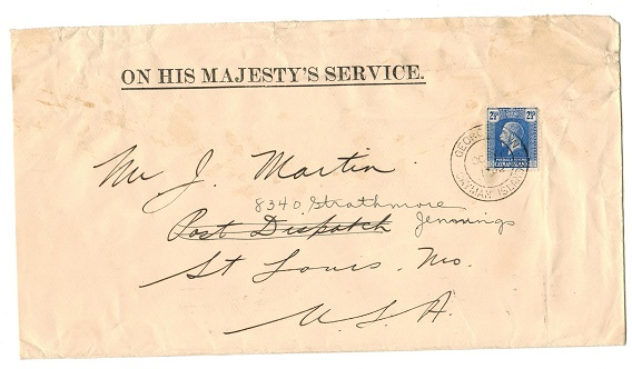 CAYMAN ISLANDS - 1932 OHMS cover to USA with 2 1/2d tied GEORGETOWN.