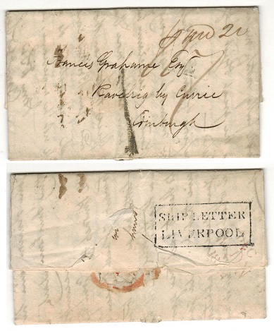 JAMAICA - 1824 stampless entire to Scotland with SHIP LETTER/LIVERPOOL b/s.