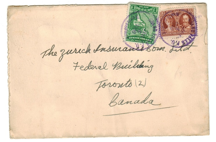 NEWFOUNDLAND - 1930 cover to Canada used at GRAND FALLS PO.