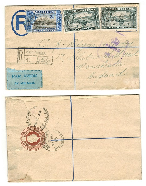 SIERRA LEONE - 1938 3d brown on cream RPSE censored to UK and used at MOYAMBA.  H&G 5.