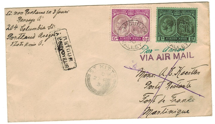 ANGUILLA - 1930 first flight cover to Martinique from ANGUILLA VALLEY via St.Kitts.