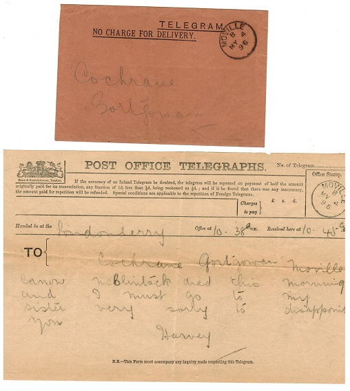 IRELAND - 1896 TELEGRAM cancelled MOVILLE complete with contents.