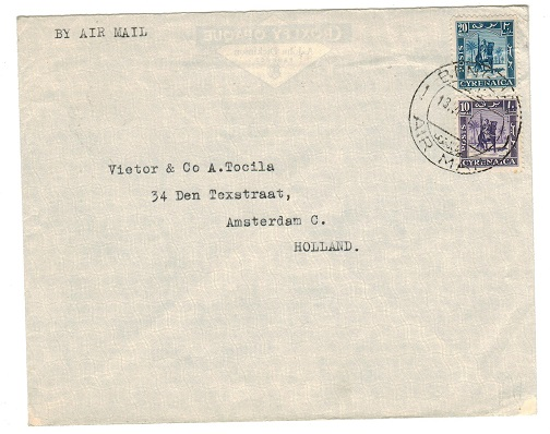 CYRENAICA EMIRATE - 1951 cover addressed to Holland used at Benghazi.