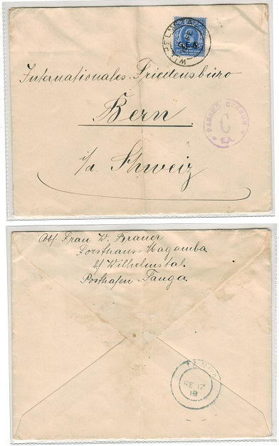 TANGANYIKA - 1918 15c rate cover to Switzerland used at WILHELMSTAL with rare