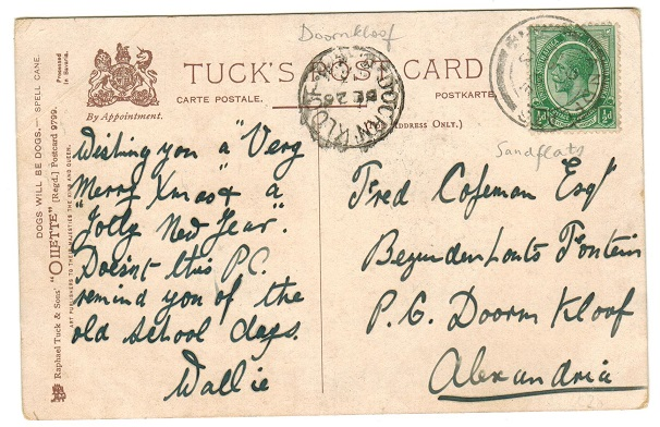 SOUTH AFRICA - 1913 1/2d rate postcard use from SANDFLATS.