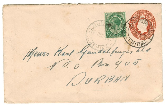 SOUTH AFRICA - 1921 1 1/2d orange-brown PSE uprated locally from LOUWSBURG.  H&G 2a.