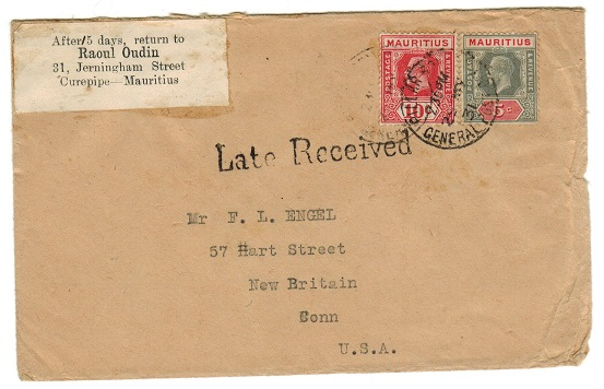 MAURITIUS - 1931 15c rate cover to USA from PILLAR POST BOX with LATE RECEIVED h/s.