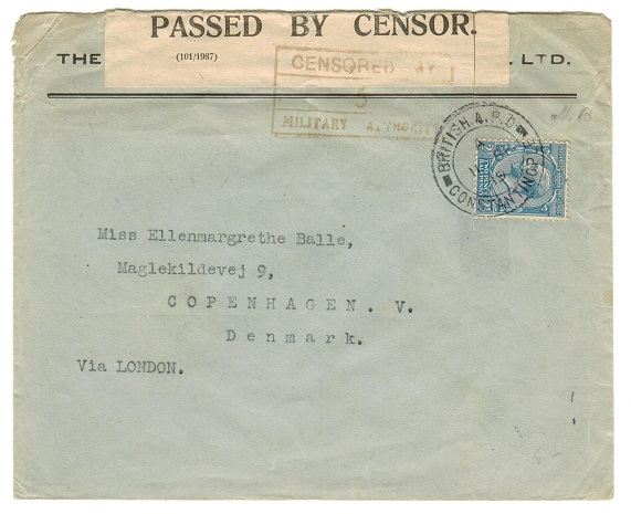 BRITISH LEVANT - 1919 2 1/2d rate military censor cover to Denmark.
