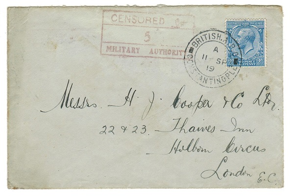 BRITISH LEVANT - 1919 2 1/2d rate military censor cover to UK.