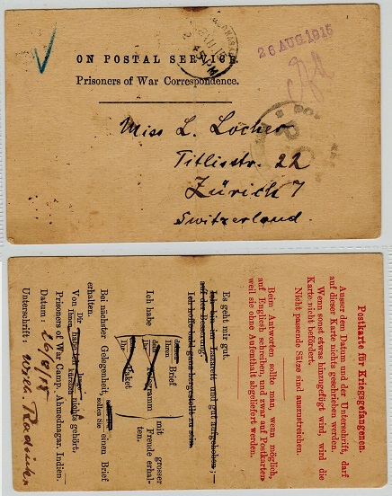 INDIA - 1915 ON POSTAL SERVICE/PRISONER OF WAR pre-printed card (fold) to Switzerland.