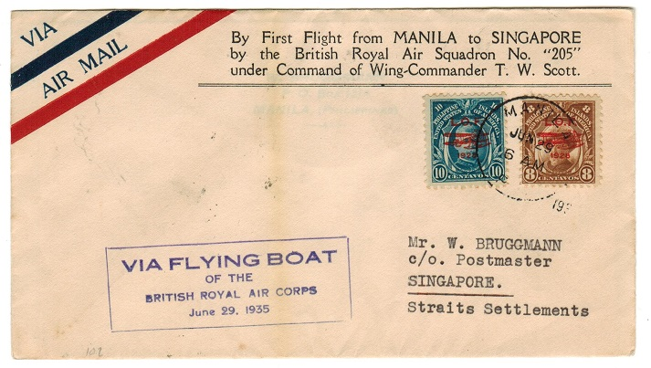SINGAPORE - 1935 inward FIRST FLIGHT cover from Philippines via