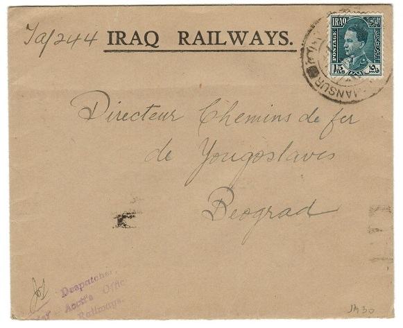 IRAQ - 1937 (circa) IRAQ RAILWAY cover bearing 15f tied AL-MANSUR.