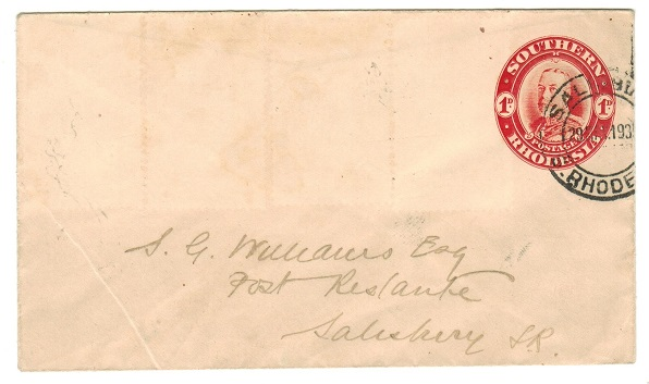 SOUTHERN RHODESIA - 1931 1d red PSE used locally from SALISBURY.  H&G 4.