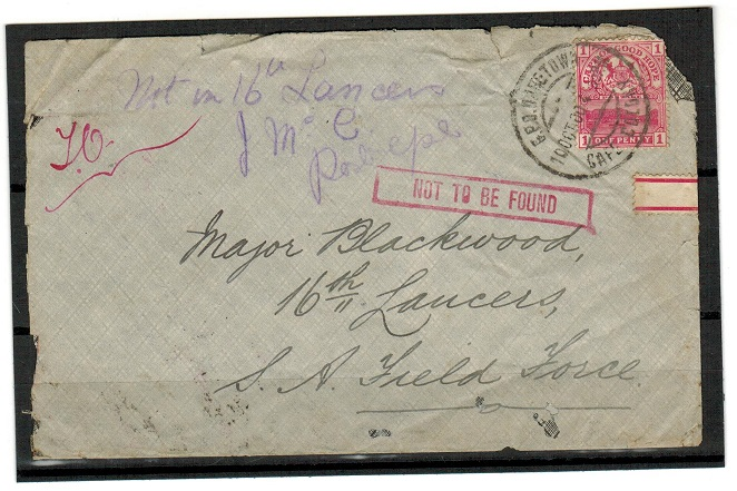 CAPE OF GOOD HOPE - 1900 Boer War cover used from CAPETOWN with NOT TO BE FOUND h/s.