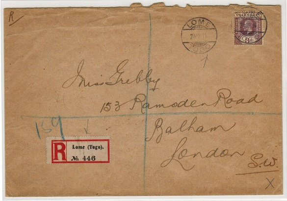 TOGO - 1914 3d rate registered cover to UK used at LOME/TOGO.