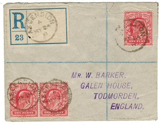 ASCENSION - 1911 registered cover to UK bearing GB 1d (x3) tied ASCENSION.