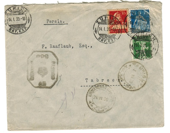 BR.PO. USED ABROAD (Bushire) - 1920 inward censored cover from Switzerland.
