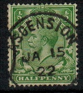 ASCENSION - 1912-22 1/2d green adhesive of GB struck ASCENSION.  SG Z39.