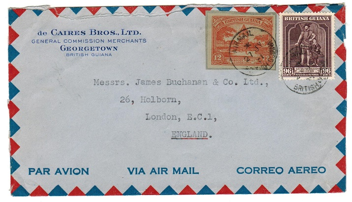 BRITISH GUIANA - 1951 cover to UK with 12c postal stationery