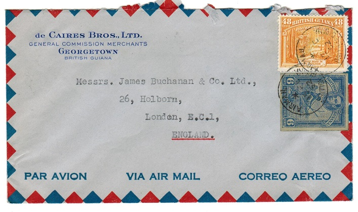 BRITISH GUIANA - 1952 cover to UK with 6c postal stationery