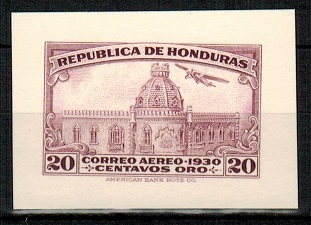 HONDURAS - 1930 20c IMPERFORATE PLATE PROOF (SG 317) printed in red-violet.