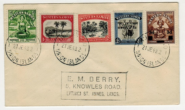 TOKELAU - 1948 multi franked cover to UK used at NUKUNONO/UNION ISLANDS.