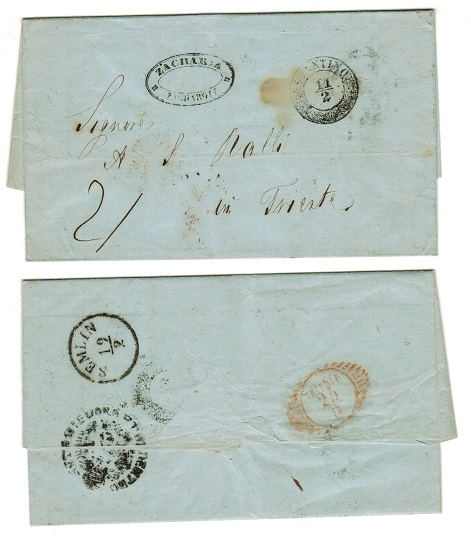 BRITISH LEVANT (Austrian Offices) - 1852 stampless entire to Italy used at CONSTANTINOPLE.