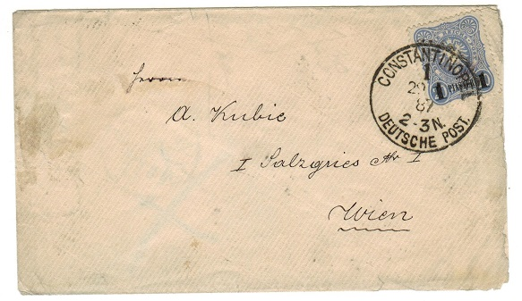 BRITISH LEVANT (German Offices) - 1887 1p on 20pfg cover to Austria used at CONSTANTINOPLE.