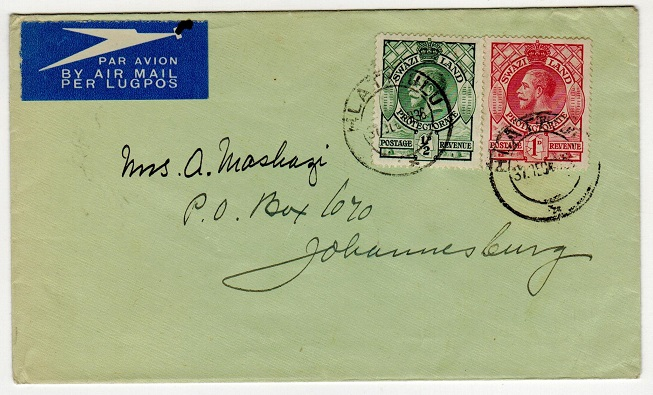 SWAZILAND - 1936 cover to Johannesburg used at HLATIZULU.