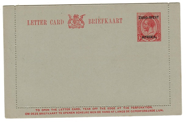 SOUTH WEST AFRICA - 1923 1d red on grey postal stationery letter card unused.  H&G 3.