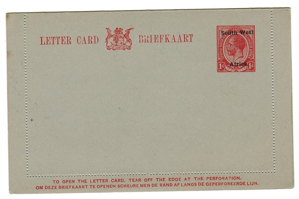 SOUTH WEST AFRICA - 1923 1d red on grey postal stationery letter card unused.  H&G 2.