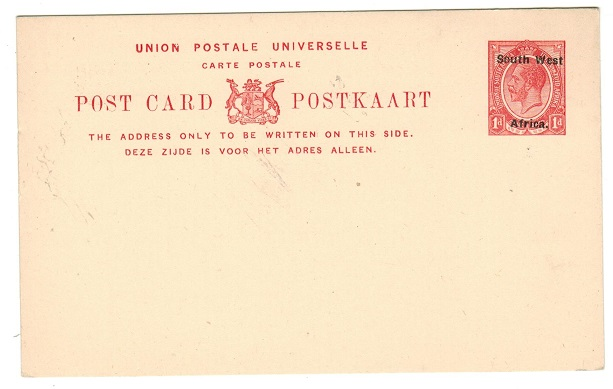 SOUTH WEST AFRICA - 1923 1d red on cream PSC unused.  H&G 4.