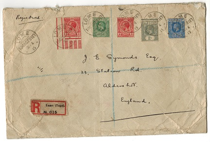 TOGO - 1915 registered cover to UK with Gold Coast un-overprinted adhesives used at LOME.