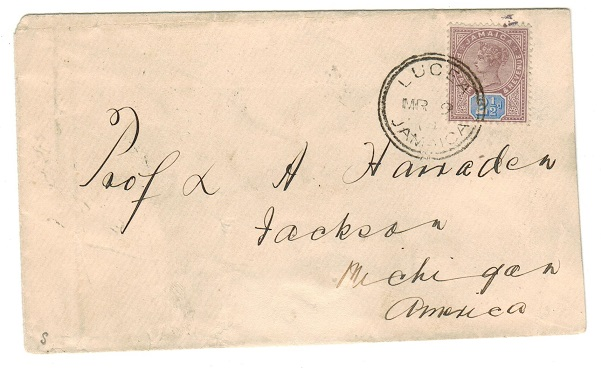 JAMAICA - 1894 2 1/2d rate cover to USA used at LUCEA.
