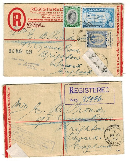 GRENADA - 1951 6c ultramarine RPSE (size F) to UK uprated from SAUTEURS. Unlisted by H&G.