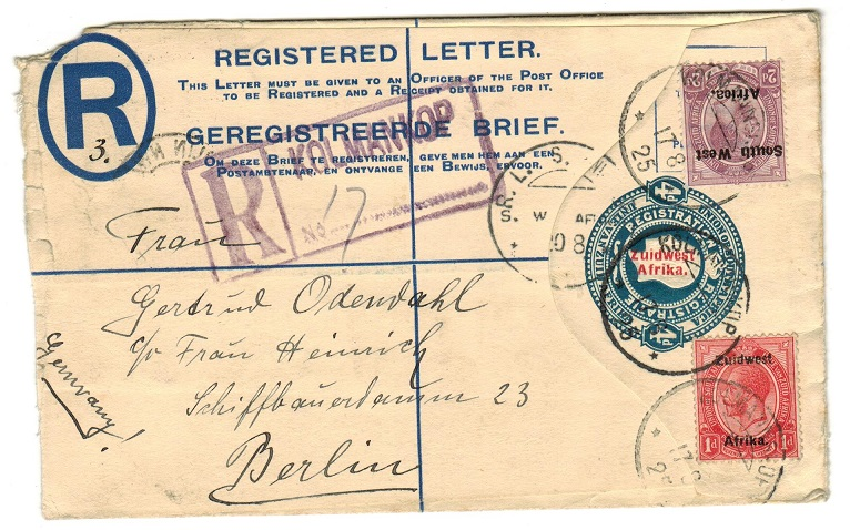 SOUTH WEST AFRICA - 1923 4d RPSE to Germany uprated from KOLMANKOP.  H&G 8.