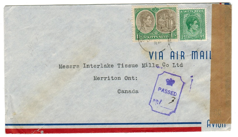 ST.KITTS - 1942 censor cover to Canada.