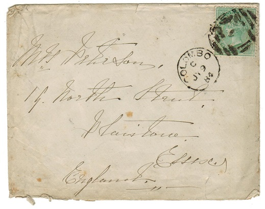 CEYLON - 1884 24c rate cover to UK used at COLOMBO.