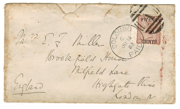 CEYLON - 1883 20c on 64c surcharge adhesive use on cover to UK with COLOMBO/PAID cds.