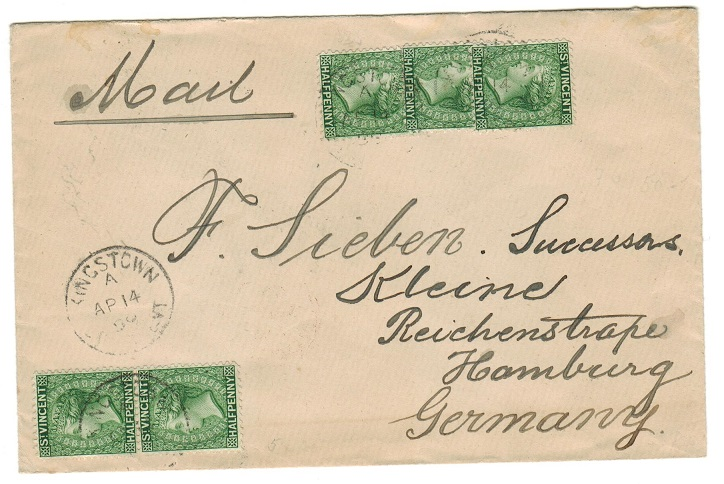 ST.VINCENT - 1899 cover to Germany bearing 1/2d green (x5) making up the 2 1/2d rate.